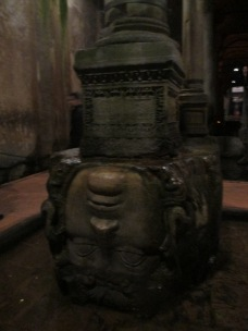 The cistern is infamous for this upside-down Medusa head.
