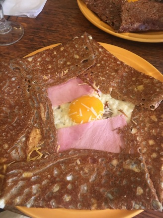 Ham, egg, and cheese galette