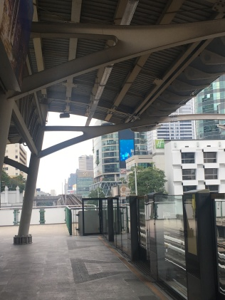 The SkyTrain platform is high above ground.