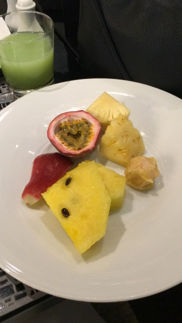 Yellow watermelon (tastes the same!) and passionfruit