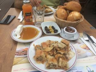 Enjoying karaköy böreği in Istanbul