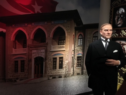 Ataturk in front of the Grand National Assembly